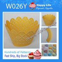 Wholesale Elegant Cupcake Wrappers - Free Shipping!24 pcs W026Y Yellow Elegant Design Great for Weddings,Cupcake Wrappers,Cake decorating,Laser Cut Cupcake wrappers!