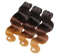 Wholesale human hair weave honey brown resale online - 8A Honey Blonde Ombre Hair Extensions Three Tone Brown Blonde B Ombre Indian Body Wave Virgin Human Hair Weave Bundles