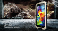 Wholesale Galaxy S4 Gorilla - Waterproof Dirtproof Shockproof LOVE MEI Heavy Duty Metal Aluminum Gorilla Glass Armor Case Cover For Samsung GALAXY S5 i9600 S4 S3