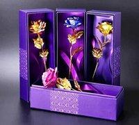 lila handtaschen hochzeit großhandel-Überzogenes 24K goldenes rosafarbenes Blumen-Valentinstaggeburtstagsgeschenkbrauthochzeitsblumenstrauß-Goldblau-Rot mit purpurrotem handbag + box Tropfenverschiffen