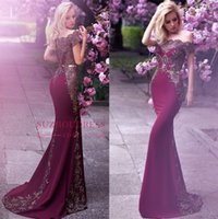 árabe popular venda por atacado-Popular Uva Formal Vestidos de Noite Contas Apliques Sereia Off The Shoulder Prom Vestido Com Cinto De Ouro Árabe Celebridade Vestidos