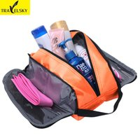 Wholesale Cosmetics Material - Toiletry Bag Waterproof Nylon Material For Lady Makeup Cosmetic Bag Large Capacity 5 Colors Choice 1pcs Free Shipping 13544