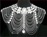 Wholesale Body Chain Jewerly - Body Jewerly Diamond Crystal Rhinestone Tassel Shoulder Chain Shawl Wrap Cape Bride Wedding