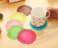 Wholesale Table Mats Design - Hot Colorful Lace Flower Hollow Design Round Silicone Table Heat Resistant Mat Cup Coffee Coaster Cushion Placemat Pad