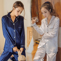 vêtements en soie gratuits achat en gros de-Pyjama à manches longues pour femmes version coréenne du costume de soie sexy coréen automne et hiver vêtements à la maison livraison gratuite