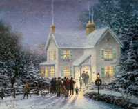 Wholesale Landscape Thick Paintings - Thomas Kinkade Oil Paintings Art Print On Canvas no frame. NO.063
