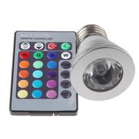 controlador mr16 al por mayor-Venta caliente 1 juego 16 luces LED cambiantes de color 3W E27 GU10 MR16 E14 RGB Proyector LED con controlador inalámbrico para fiesta en casa