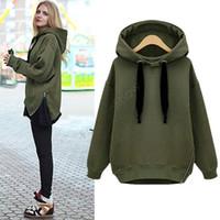 Wholesale Hoody Plus Size Women - 2015 Hot Selling Women Fashion Side Zipper Hoody Sweatershirt Women Casual Hoodies With Hood Plus Size Tops.