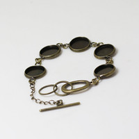 Wholesale Base Metal Cabochon Wholesale - Beadsnice metal bracelet blank brass bangle setting glass cabochon base with 5 blanks for 16mm round resin and cab etc ID 12145