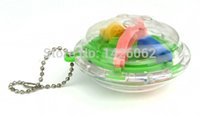 Wholesale Magical Intellect - Wholesale-30pcs 3D mini Magical Maze ball 36 Steps Puzzl Game Improve Intellect concentration Toys Key chain Bag tags decorations Gift