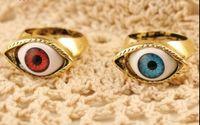 Wholesale Evil Eye Bronze - Fashion Retro Punk band rings vintage Bronze Blue Evil Eye Finger Ring Evil Eyeball Rings jewelry 18pcs