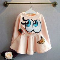 Wholesale New Summer Childrens Dress - Girls Dress 2015 New Autumn Cartoon Sequined Eyes Pattern Princess Dress Childrens Long Sleeve Casual Dress Kids Dress C001