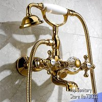 Wholesale Antique Wall Mount Telephone - TB7005# Wall mounted Gold color clawfoot tub shower set with polished mixer and antique telephone hand shower artistic torneira