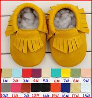 baby fransen stiefel großhandel-18Pairs Baby Franse Moccs Großhandel Baby Gold Silber Mokassins weichen Leder Moccs Baby Booties Kleinkind Schuhe 20 Farben wählen frei 0-2years
