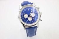 Wholesale Big Leather Watch - New Arrival Big Dial Quartz Chronograph Men's Watch Analog Blue Dial Fluted Bezel Platinum Skeleton Leather Bracklet Male Watch Relojoes