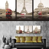 3 Piece Wall Art Londres Building City Peinture décorative impressionniste moderne Pure peint à la main
