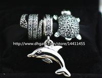 europäisches murano glas tier perlen großhandel-925 Sterling Silber Charms und Murano Glasperlen Set für europäische Pandora Schmuck Charm Armbänder-Tiere Sets