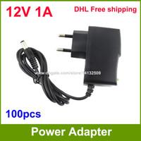 Wholesale Dc 12v Cameras - AC DC 12V 1A Power Supply adapter 12V Adaptor For CCTV Cameras EU   US Plug High Quality 100pcs Fedex   DHL Free shipping