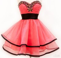 Wholesale Celebrate Dresses - Holiday Dresses Prom A-line Organza Hot Pink Homecoming Dresses Party Dresses celebrate Dress Short Prom Dresses Graduation