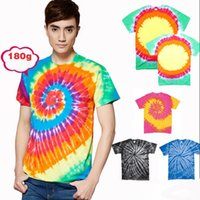 Wholesale Psychedelic Shirt Men - Funny Men Tie Dye T Shirt Multi-Color Rainbow Spiral Tee Top Retro Hippy Ombre Psychedelic Shirt Festival Variation Rave Tshirts 2016