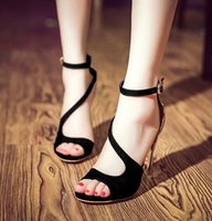 Wholesale Stiletto Heels America - Summer Ladies Sandals Europe and America Style Fashion Women Sandals High Heels Thin Ankle Strap Womens Peep Toe Shoes Retail H609
