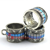 Wholesale fashion jewelry tube pendant resale online - Hot Fashion DIY Jewelry Pendant Scarf Accessories Metal Alloy Charm Sky Blue Necklace Scarf Slide Tube Bails AC0381D