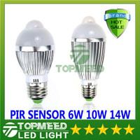 Wholesale Downlight Sensor - LED light E27 6W 10W 14W 85V-265V Motion Control PIR Sensor Led lighting led ball Lamp Globe Bulb Silver Waterproof spotlight downlight 5050