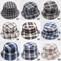 Wholesale Wholesale Canvas Cowboy Hats - canvas grid hats summer sun hats men and women Beach hat joker fisherman caps Travel be prepared 18 color can choose