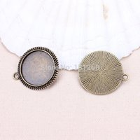 Wholesale Antique Cameo Glass - Wholesale-10pcs bag Vintage (20mm for glass)Antique Bronze Cameo Cabochon Base Setting Charm Pendant