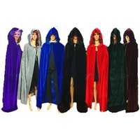 ingrosso supereroi di costumi neri-Black Red Velvet Hooded Superhero Witch Vampires Cloak Costume per le donne Uomini Halloween Party Fancy Dress Ball Cape Cosplay Taglia S-XL