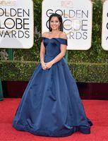 Wholesale Dark Navy Formal Gown - 2016 Golden Globe Dark Navy Celebrity Dress Gina Rodriguez Satin Long Off-Shoulder Sexy Back Formal Evening Prom Gowns