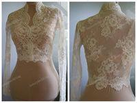 Wholesale Bridal Gown Lace Shawl - Wedding bolero jackets lace long sleeve alencon Unique beautiful romantic wedding jacket bolero bridal wraps shrug gown dress stole shawl