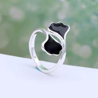Wholesale Enamel Rings Adjustable - 2016 spring enamel black leaf Ginkgo biloba silver plated ring for women flower adjustable Wedding luxury gift Engagement Ring