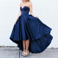 Wholesale Long Strapless Bridesmaid Dresses Cheap - High Low Satin Prom Dresses Short Front Long Back Navy Blue Evening Party Dresses Formal Gowns Sweetheart Cheap Bridesmaid Dresses