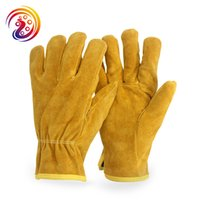 Guantes De Soldador Baratos-OLDEEPAK Cow Split Welders Work Goves Gardening Driver Gloves HY011
