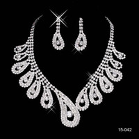 Wholesale Rhinestone Free Shipping - 2016 New Jewelry Necklace Earring Set Cheap Wedding Bridal Prom Cocktail Evening Dresses Rhinestone 15-042 In Stock Free Shipping