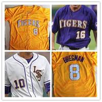 9a57856b629 Custom LSU Tigers College Baseball CWS Purple Gold White Mens DJ LeMahieu Alex  Bregman Stitched Any Name Number Jerseys S-4XL ...