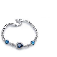 corazón océano diamante al por mayor-Hot Charm Bracelets Love Heart of Ocean diamante Zircon Crystal Encanto de la manera Pulsera de cristal Diamante Joyería de las muchachas austríacas Regalo de cumpleaños