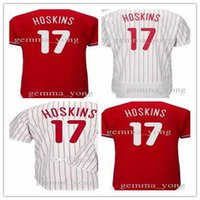 Wholesale Embroidery Logo Shirt - Fashion Men's 17 Rhys Hoskins Jersey Philadelphia Baseball Jerseys Red White Embroidery Logos Shirts Good Quanlity