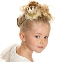Wholesale Mini Crown Headband - SALE!Newborn Mini Felt Crown+Glitter Elastic Headband For Girls Hair Accessories Handmade Luxe Baby Headbands 5 colors 30 PCS