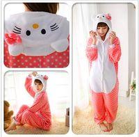merhaba kitty tv toptan satış-Hello kitty kostüm fursuit kostüm kıyafetleri Cadılar Bayramı noel kostümleri erkekler kadınlar için Pooh Kigurumi Pijama Hayvan Cosplay Kıyafet Yetişkin