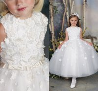 Wholesale Pure White Flower Girl Dresses - Pure White Flower Girl Dresses High Neck Sleeveless Romantic Flowers and Bow Cheap Formal Dresses for Girls Pageant Tulle Ankle Length Long