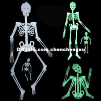 Wholesale plastic toy skeleton - Party Christmas Plastic human skeleton Halloween horror spoof Tricky Toy luminous plastic skeleton 1.3 m bar dresses