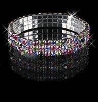 mehrreihige armbänder großhandel-2019 günstige Auf Lager mehrfarbige Strass 3 Row Stretch Armreif Prom Abend Hochzeit Schmuck Armband Braut Zubehör 15-012