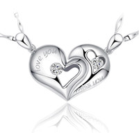 Wholesale Korean Accessories For Men - 925 Sterling Silver Heart Pendants Solitaire Korean Lovers Men Women Jewellery Accessories Charms for Pendant Necklace Made Without Chain