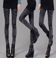 Wholesale Ladies Leggings Models - Wholesale-Free shipping New Autumn and Winter Ladies Denim Leggings Models Big Yards Fried Snow Pants Pencil Pants Feet long For Female