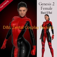 Wholesale Sexy Catsuits For Women - Free Shipping DHL 2015 Halloween Genesis 2 Female Superhero Costume,PVC Catsuits, Scarlet Suit, Red And Black Catsuits For Women