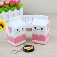 Wholesale Fun Retail - High Quality Cute Jumbo Squishy Milk Box Cartoon Slow Rising Toys Phone Straps Pendant Sweet Cream Scented Bread Kids Fun Toy Gift