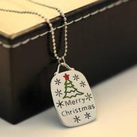 Wholesale Merry Christmas Pendant - Slide Pendant Necklace Merry Christmas & The Christmas Tree Fashion Europe & America Style Creative Personality Necklace Clothing Decoration
