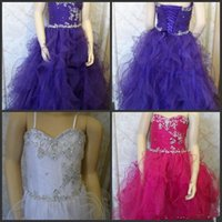 Wholesale Organza Embroidered Bodice Ball - Beauty Pageant Dresses White Fuchsia Purple Floor-Length Spaghetti Sleeveless Kid Gowns Ball Gown Ruffle Embroidered Bodice Lace Back Dress